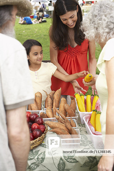 Mother and Daughter at Farmers Market