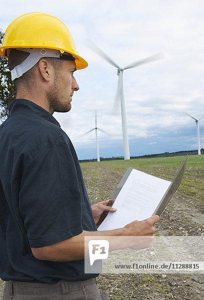 Worker on Wind Farm  Denmark
