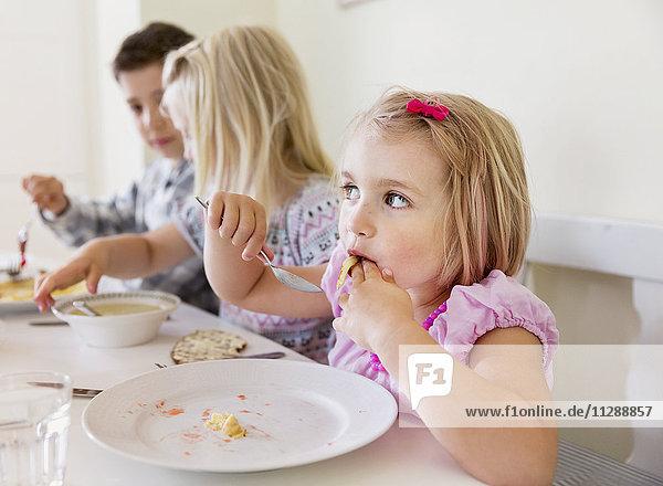 Children having meal