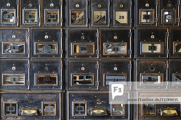 Wall of old post office boxes in Barkerville Historic Town in British Columbia  Canada