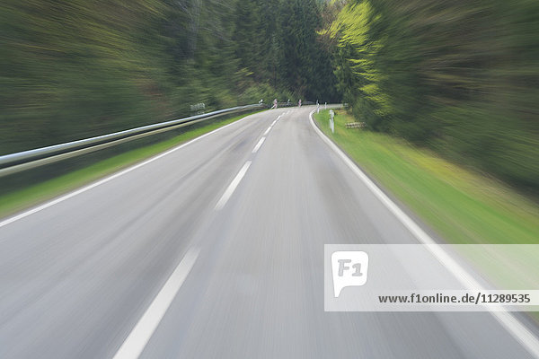 Driver's Perspective on Country Road through Forest in Spring  Spessart  Bavaria  Germany