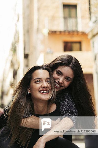 Portrait of two happy best friends