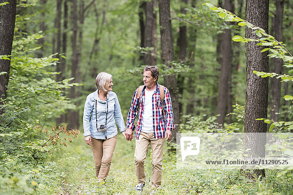 Seniorenpaar beim Waldspaziergang