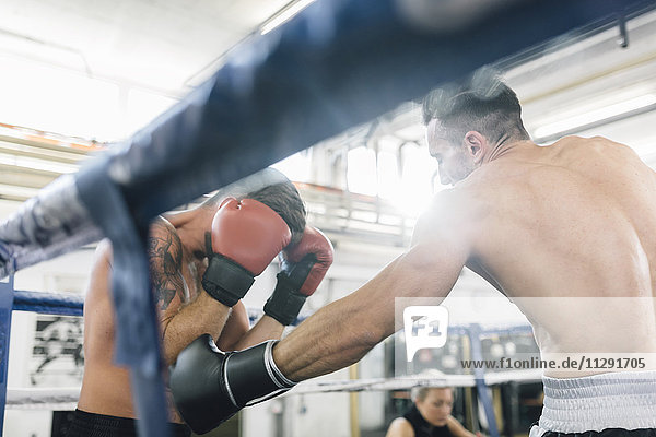 Zwei Boxer kämpfen im Boxring