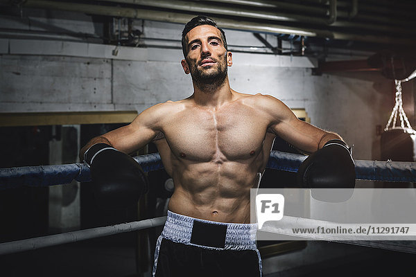 Portrait des selbstbewussten Boxers im Boxring