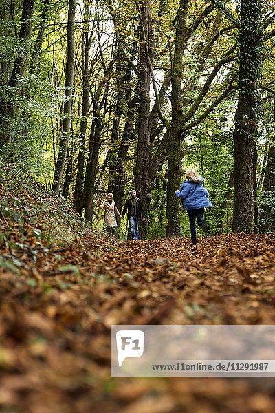 Glückliche Familie beim Entspannen im Herbstwald