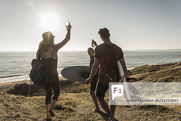 Three friends with surfboards toasting at seaside