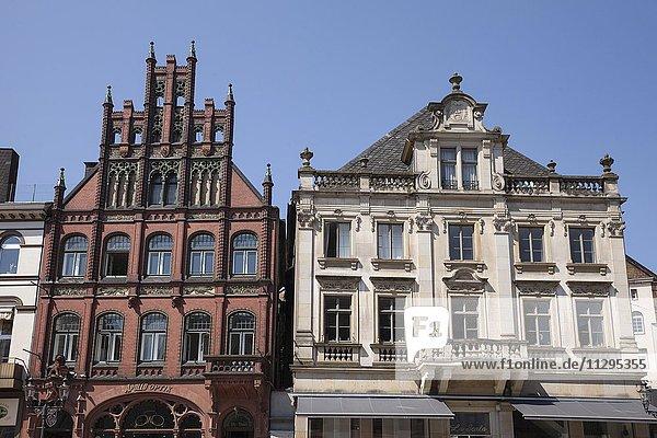 Historic houses on market square  Minden  North Rhine-Westphalia  Germany  Europe