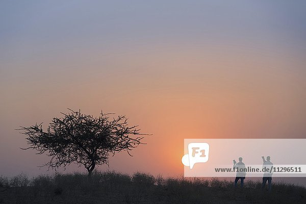 Zwei Fotografen beobachten den Sonnenuntergang,  Pushkar,  Rajasthan,  Indien,  Asien