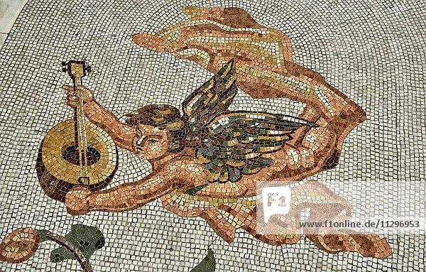 Bodenmosaik  Engel mit Harfe  Galleria Umberto I  Neapel  Kampanien  Italien  Europa