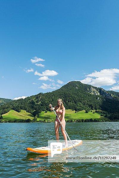 Junge Frau auf einem Stehpaddel Board  Stand-Up-Paddel oder SUP auf einem See  Schliersee  Oberbayern  Bayern  Deutschland  Europa