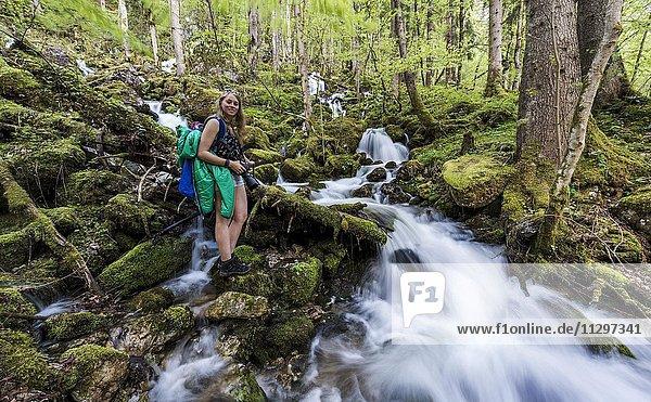 Wanderin am Bach  fließt durch Wald  Röthbach  Röthbachfall  Schönau am Königssee  Berchtesgaden  Bayern  Oberbayern  Deutschland  Europa