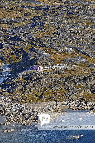 Pinkes Haus  Diskobucht  Grönland  Europa