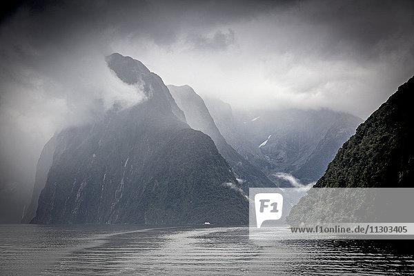 Wolken und Nebel um die Klippen  Milford Sound  Südinsel Neuseeland