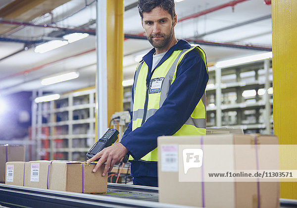 Worker scanning and processing boxes on conveyor belt in distribution warehouse