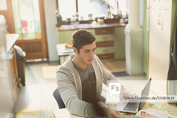 Young man college student studying at laptop in kitchen
