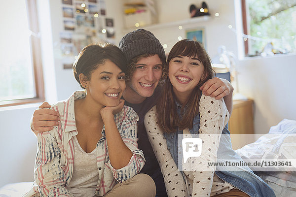 Portrait smiling young friends