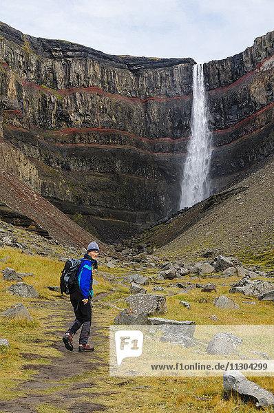 Waterfall Hengifoss in the valley Fljotsdalur near Egilsstadir in east Iceland.