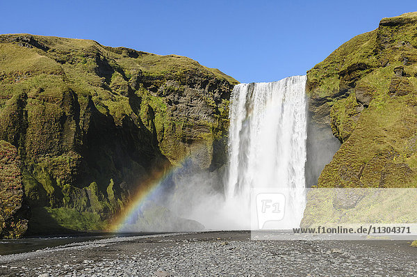 Waterfall Skogafoss in south Iceland.