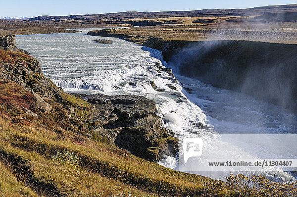 Waterfall Gullfoss and river Hvita in southwest Iceland.