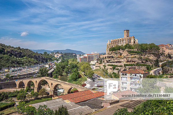 Spain  Catalonia  Manresa City  The Old Bridge and La Seu Cathedral
