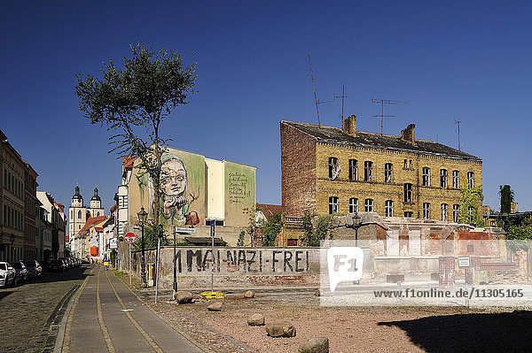 Germany  Lutherstadt Wittenberg  city view with street art