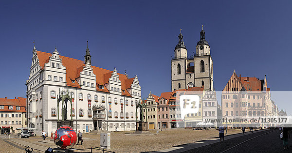 Germany  Lutherstadt Wittenberg  view to town hall  row of houses and St Mary's Church
