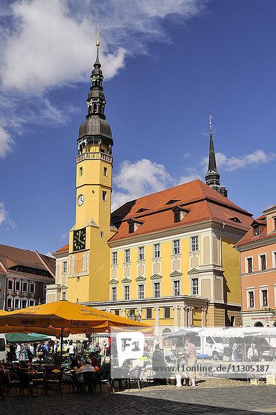 Germany  Saxony  Bautzen  Market place with town hall