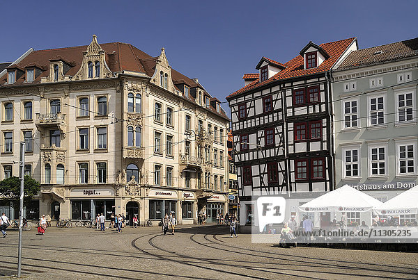 Germany  Erfurt  view to houses at the eastside of Cathedral Square