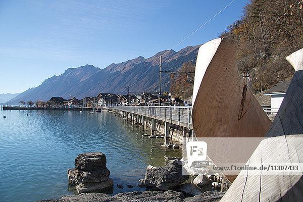 Brienz  autumn  Bernese Oberland  canton Bern  Switzerland  Europe  village  Switzerland  Brienzersee  lake  Lake Brienz  wooden sculpture  sculpture  wood  carving
