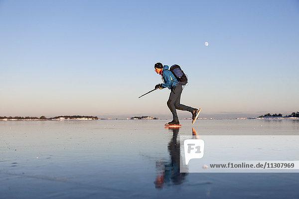 Man long-distance skating