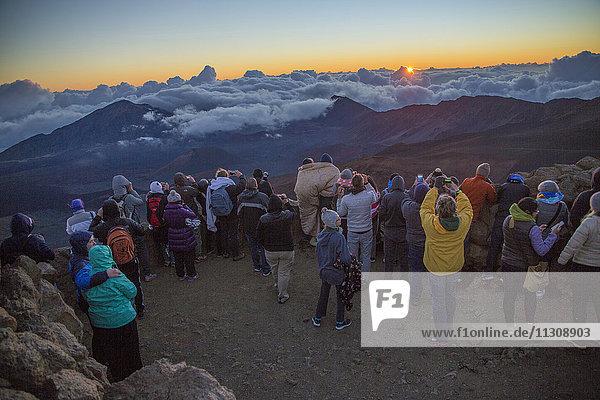 Maui  sunrise  Haleakala  crater  3055 ms  view  USA  Hawaii  America  tourists