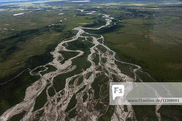 aerial  Alaska  USA  Tundra  river  landscape