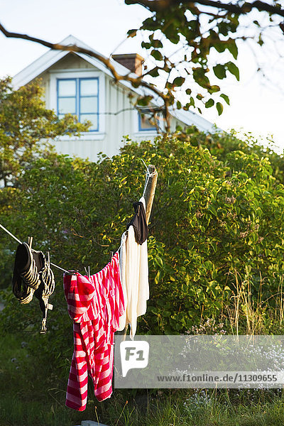 Laundry hanging on clothes line