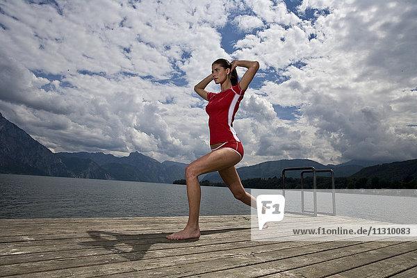 Gymnastics  Traunsee  woman  sport  stretch  lake  Austria