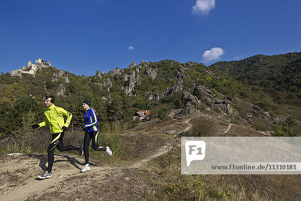 Running  sport  Trail  nature  man  woman  couple  autumn  sport  jogging  Austria