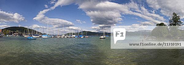 Austria  Salzkammergut  Attersee  Upper Austria  panorama  scenery  lake  boats