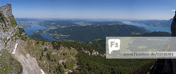 Austria  Upper Austria  Salzkammergut  lakes  scenery  Schafberg  lake  panorama