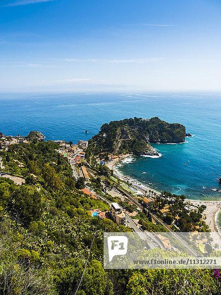 Italien  Sizilien  Taormina  Blick auf Isola Bella