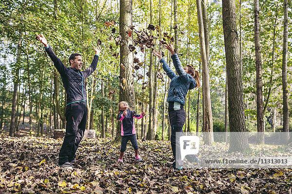 Glückliche Familie wirft Herbstlaub in die Luft