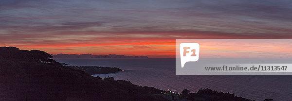 Sunset glow over the Tyrrhenian Sea