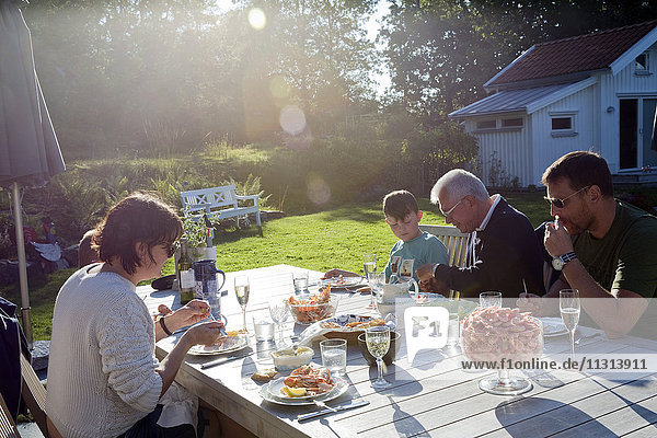Family having dinner in garden