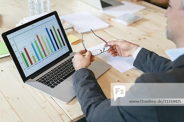 Geschäftsmann studiert Balkendiagramm auf Laptop