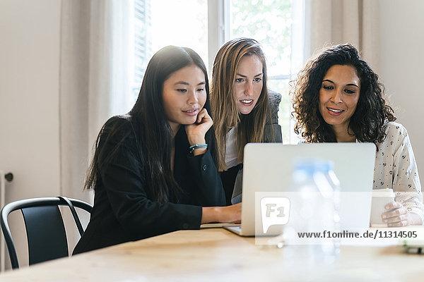 Drei Geschäftsfrauen arbeiten gemeinsam am Laptop
