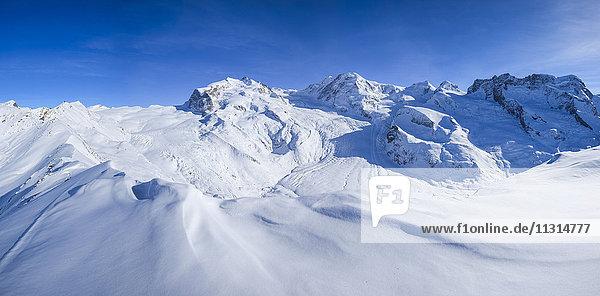 Monte Rosa - 4633 ms,  Dufourspitze - 4634 ms,  Liskamm - 4527 ms,  Breithorn - 4165 ms,  Valais,  Switzerland