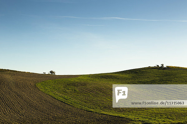 Italien  Toskana  Val d'Orcia  hügelige Landschaft