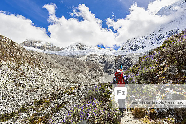 Peru  Andes  Cordillera Blanca  Huascaran National Park  tourist on hiking trail with view to Nevado Chacraraju
