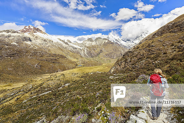 Peru  Anden  Cordillera Blanca  Huascaran Nationalpark  Wanderweg mit Blick auf Nevado Huascaran und Nevado Yanapaccha