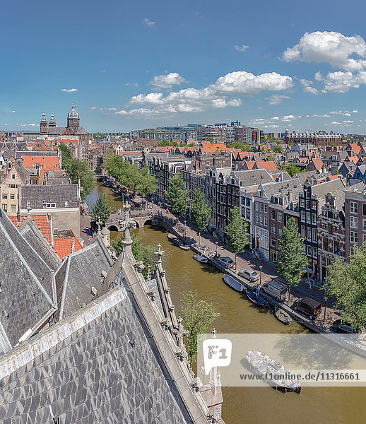 Amsterdam  Noord-Holland  View over the roofs seen from The Old Church  Oudezijds Voorburgwal