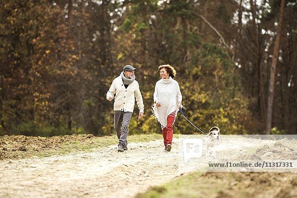 Seniorenpaar  das mit ihrem Hund im Wald spazieren geht.